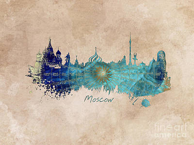 Moscow Skyline Digital Art - Moscow Skyline Wind Rose by Justyna JBJart