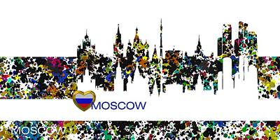 Moscow Digital Art - Moscow Skylines by Alberto RuiZ