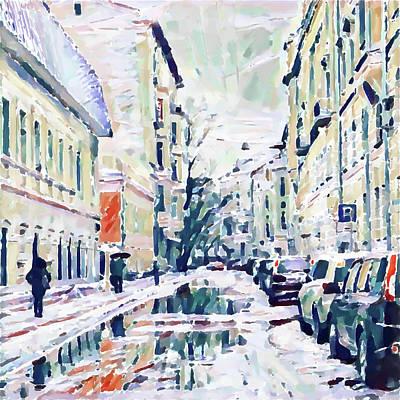 Digital Art - Moscow Snowing by Yury Malkov
