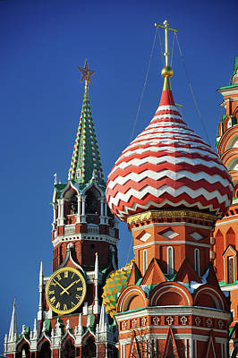 Clear Sky Photograph - Moscow, Spasskaya Tower And St. Basil Cathedral by Vladimir Zakharov