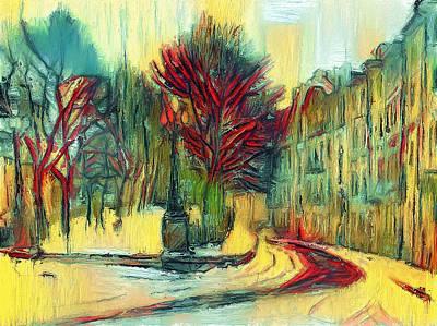 Digital Art - Moscow Street Yellow by Yury Malkov