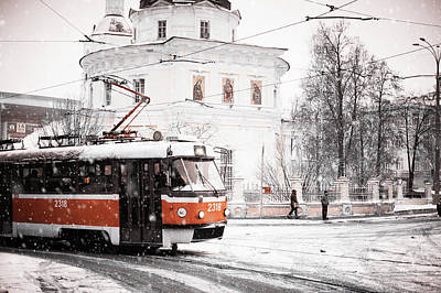 Moscow Tram. Snowy Days In Moscow Art Print by Jenny Rainbow