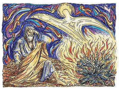 Burning Bush Drawing - Moses And The Burning Bush by Brent Kastler
