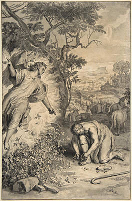 Moses And The Burning Bush Art Print by Gerard Hoet