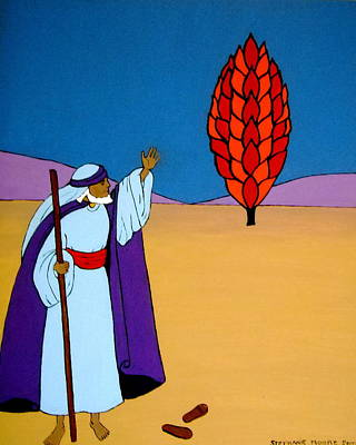 Painting - Moses And The Burning Bush by Stephanie Moore