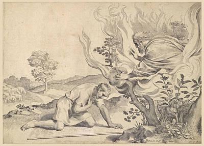 Moses Before The Burning Bush Art Print by Claude Mellan