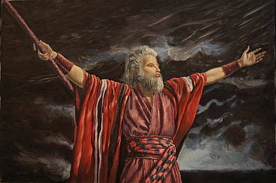 Painting - Moses Parting The Red Sea by Rosencruz  Sumera