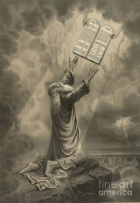 Moses Receiving The Ten Commandments Art Print by Science Source