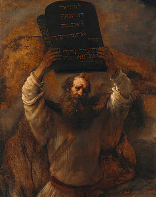 Moses With The Ten Commandments Print by Rembrandt