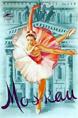 Moscow Mixed Media - Moskau - Ballerina In Pink Dancing - Retro Travel Poster - Vintage Poster by Studio Grafiikka