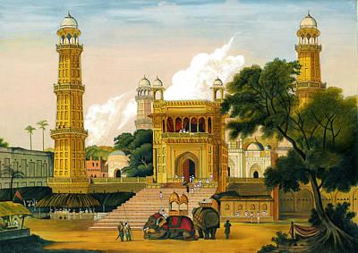 Antique Miniature Painting - Mosque Muslim Art Islamic Paintings Landscape Painting Miniature Artwork British India by Jagannath
