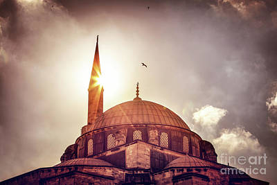 Photograph - Mosque Silhouette Over Sunset by Anna Om