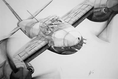 Raf Drawing - Mosquito Bite by James Baldwin Aviation Art