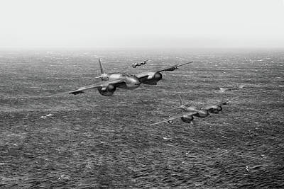 Photograph - Mosquito Fighter Bombers Over The North Sea Bw Version by Gary Eason