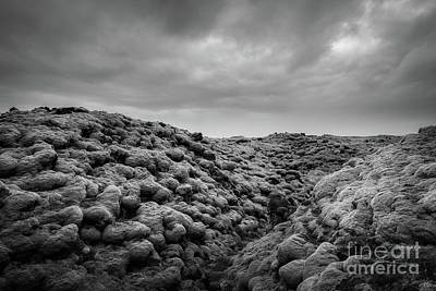 Photograph - Moss Covered Lava Field Bw by Michael Ver Sprill