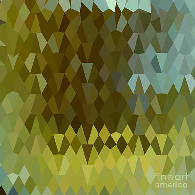Moss Green Abstract Low Polygon Background Art Print by Aloysius Patrimonio