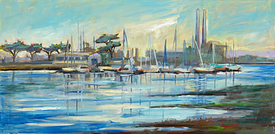 Painting - Moss Landing Harbor by Marie Massey