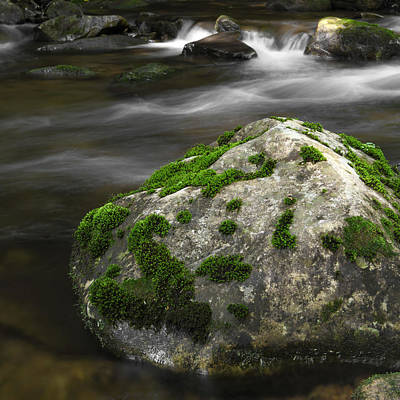 Photograph - Mossy Boulder In Mountain Stream by John Stephens
