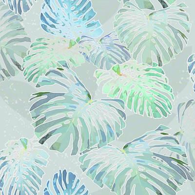 Digital Art - Mossy Faded Monstera by Karen Dyson