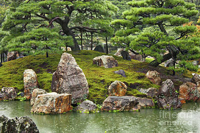 Rainy Day Photograph - Mossy Japanese Garden by Carol Groenen