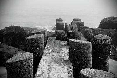 Mossy Jetty In Black And White - Jersey Shore Art Print