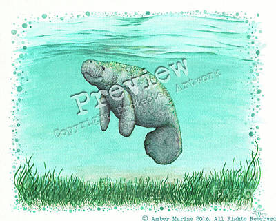 Endangered Painting - Mossy Manatee by Amber Marine