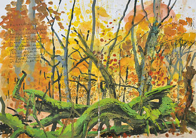 Painting - Mossy Tree Trunks, Autumn Forest by Martin Stankewitz