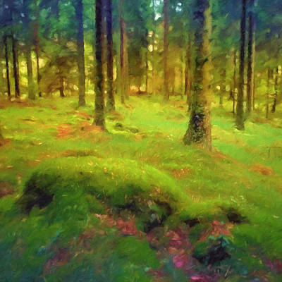 Green Fairy Painting - Mossy Woods by Lutz Baar