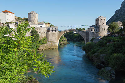 Mostar Photograph - Mostar, Bosnia Herzegovina  The Single Arch Stari Most Or Old Bridge. by Ken Welsh