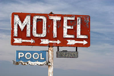 Rt Photograph - Motel And Pool Sign Route 66 by Carol Leigh