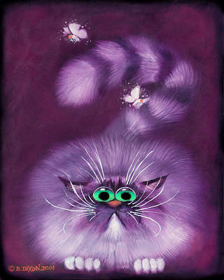 Humorous Cat Painting - Moth Hunter by Baron Dixon