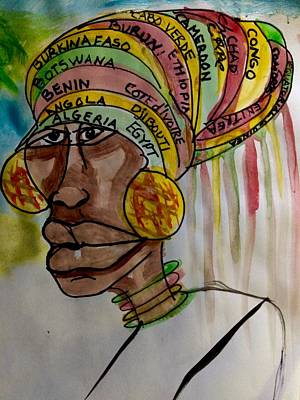 Folk Art Mixed Media - Mother Africa Countries A To E You Gonna Learn Today by Sandra Richardson