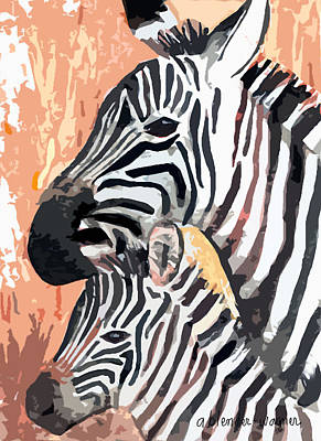 Zebras Digital Art - Mother And Baby by Arline Wagner