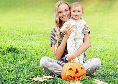 Photograph - Mother And Baby Enjoying Halloween by Anna Om