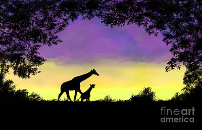 Mother And Baby Giraffe At Sunset Art Print