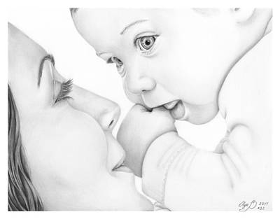 Mother And Baby Art Print by Olga Bell