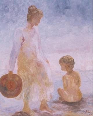 Painting - Mother And Baby On The Beach by Joy Fahey