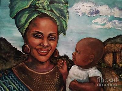 Painting - Mother And Child 2017 by Alga Washington