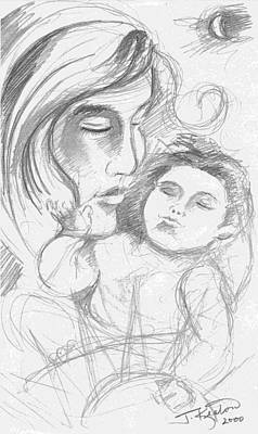 Drawing - Mother And Child 3 Drawing by John Keaton