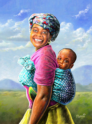 Woman Painting - Mother And Child by Anthony Mwangi