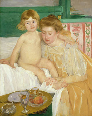 Newborn Painting - Mother And Child, Baby Getting Up From His Nap by Mary Cassatt