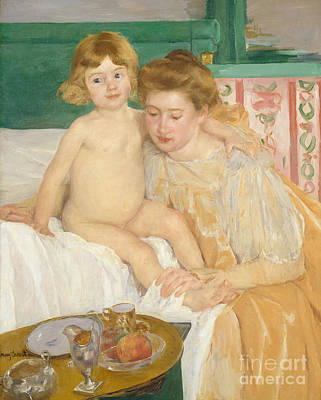 Painting - Mother And Child Baby Getting Up From His Nap by Mary Stevenson Cassatt