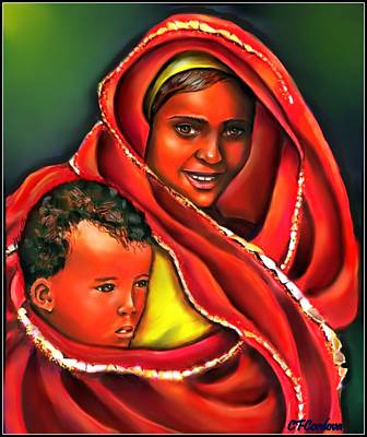 African Woman Painting - Mother And Child by Carmen Cordova