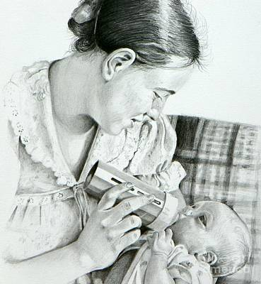 Texas Drawing - Mother And Child by David Ackerson