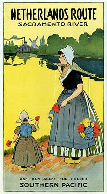 Royalty-Free and Rights-Managed Images - Mother and Child holding flowers in the Netherlands Countryside - Sacramento River - Vintage Poster by Studio Grafiikka