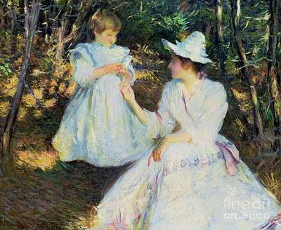 Painting - Mother And Child In Pine Woods by Edmund Charles Tarbell