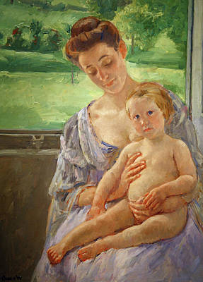 Indoor Painting - Mother And Child In The Conservatory by Mary Cassatt