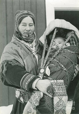 Mother And Child Painting - Mother And Child In Traditional Carrier by Celestial Images