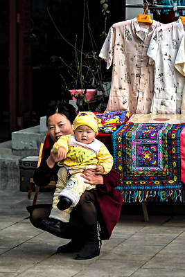 Chinese Embroidery Photograph - Mother And Child by Maria Coulson