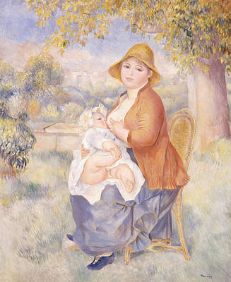 Breastfeeding Painting - Mother And Child, Maternity by Pierre Auguste Renoir